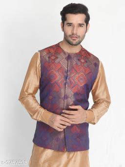 Vastramay Men's Orange Silk Blend Ethnic Jacket