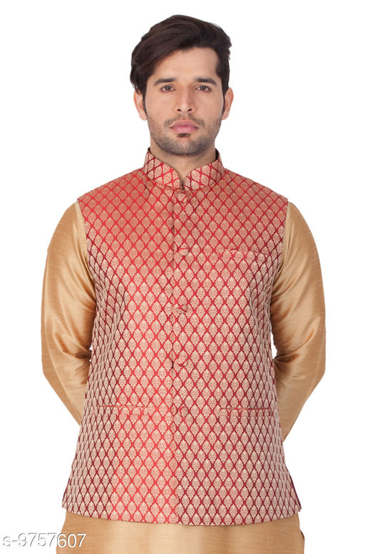 Vastramay Men's Maroon Cotton Silk Blend Ethnic Jacket