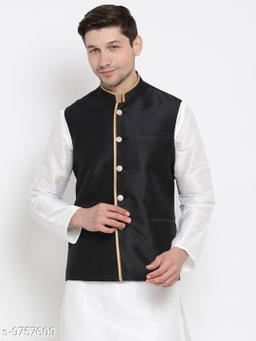 Vastramay Men's Black Cotton Silk Blend Ethnic Jacket