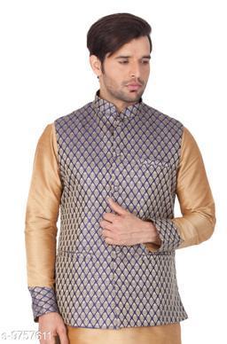 Vastramay Men's Blue Cotton Silk Blend Ethnic Jacket