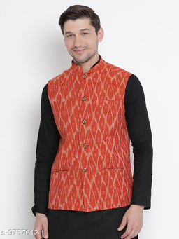 Vastramay Men's Orange Cotton Ethnic Jacket