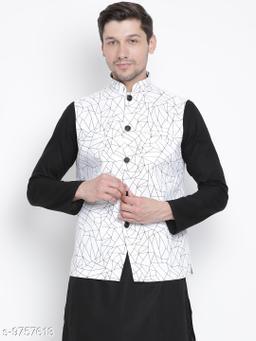 Vastramay Men's White Cotton Blend Ethnic Jacket