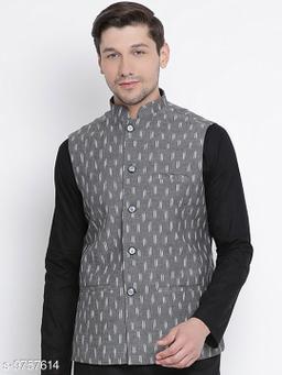 Vastramay Men's Grey Cotton Ethnic Jacket