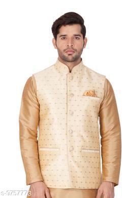 Vastramay Men's Gold Cotton Blend Ethnic Jacket
