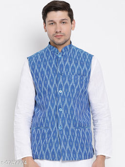 Vastramay Men's Blue Cotton Ethnic Jacket
