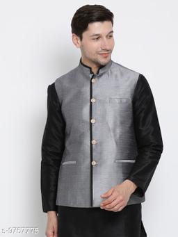 Vastramay Men's Grey Cotton Silk Blend Ethnic Jacket