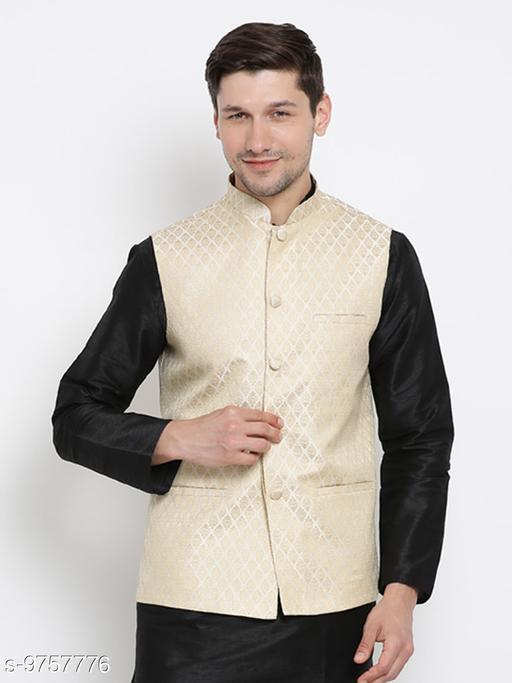 Vastramay Men's White Cotton Silk Blend Ethnic Jacket