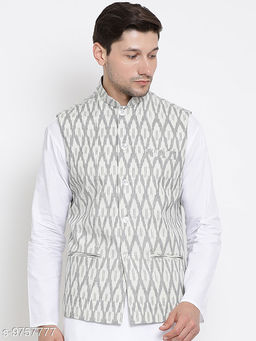 Vastramay Men's White Cotton Ethnic Jacket