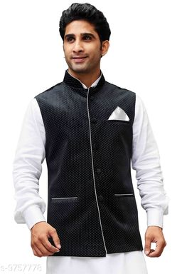 Vastramay Men's Black Velvet Ethnic Jacket