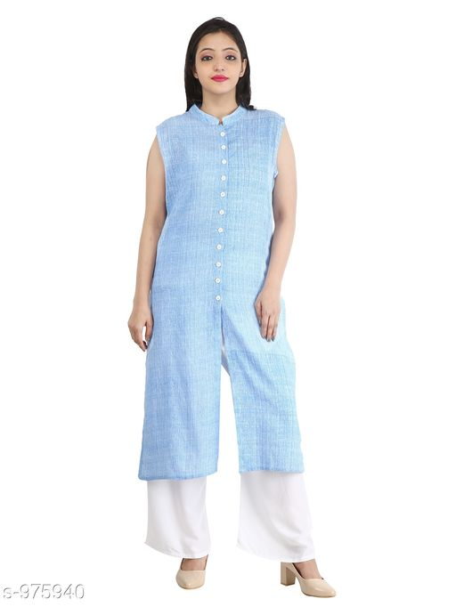 Kurtis & Kurtas Contemporary Cotton Slub Women's Kurti  *Fabric* Cotton Slub  *Sleeves* Sleeves Are Not Included  *Size* M - 38 in, L - 40 in, XL - 42 in, XXL - 44 in  *Length* Up To 46 in  *Type* Stitched  *Description* It Has 1 Piece Of Women's Long Kurti  *Pattern* Solid  *Sizes Available* M, L, XL, XXL *    Catalog Name: Inaaya Contemporary Cotton Slub Women's Kurtis Vol 1 CatalogID_115582 C74-SC1001 Code: 183-975940-