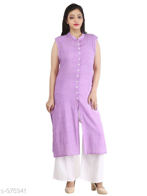 Kurtis & Kurtas Contemporary Cotton Slub Women's Kurti  *Fabric* Cotton Slub  *Sleeves* Sleeves Are Not Included  *Size* M - 38 in, L - 40 in, XL - 42 in, XXL - 44 in  *Length* Up To 46 in  *Type* Stitched  *Description* It Has 1 Piece Of Women's Long Kurti  *Pattern* Solid  *Sizes Available* M, L, XL, XXL *    Catalog Name: Inaaya Contemporary Cotton Slub Women's Kurtis Vol 1 CatalogID_115582 C74-SC1001 Code: 183-975941-