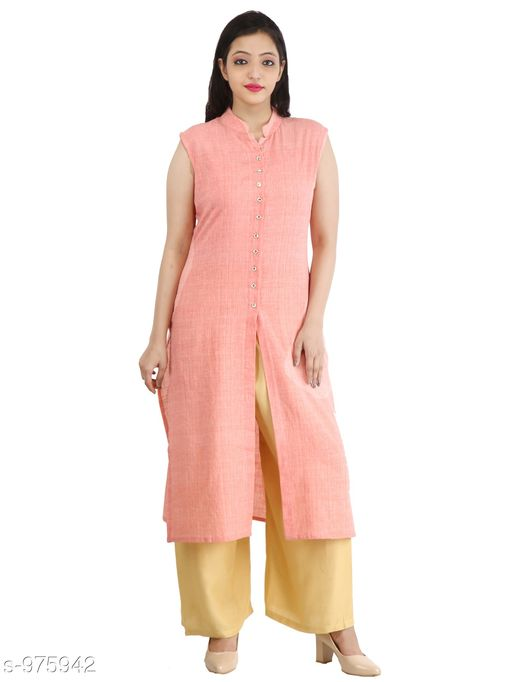 Kurtis & Kurtas Contemporary Cotton Slub Women's Kurti  *Fabric* Cotton Slub  *Sleeves* Sleeves Are Not Included  *Size* M - 38 in, L - 40 in, XL - 42 in, XXL - 44 in  *Length* Up To 46 in  *Type* Stitched  *Description* It Has 1 Piece Of Women's Long Kurti  *Pattern* Solid  *Sizes Available* M, L, XL, XXL *    Catalog Name: Inaaya Contemporary Cotton Slub Women's Kurtis Vol 1 CatalogID_115582 C74-SC1001 Code: 183-975942-