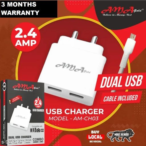 Mobile Chargers CHARGER  *Product Name* CHARGER  *Brand Name* CHARGER  *Color* White  *Compatibility* Micro USB  *Cable Length* 1 Mtr  *No. of USB Ports* 2  *Cable* Included  *Warranty* 3 Months  *Sizes*  Free Size  *Sizes Available* Free Size *    Catalog Name:  CHARGER  Mobile Chargers CatalogID_1733087 C99-SC1381 Code: 792-9762171-