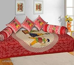 Human with Musical Instrunmental Print Diwan Sheet with Two Bolster Covers & Three Cusions Covers