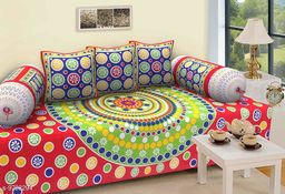 Beautiful Polka Dots with Floral Printed Diwan Sheet, Two Bolster Covers with Three Cusions Covers