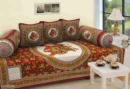Gorgeous Jaipuri Print Diwan Sheet with Two Bolster & Three Cusions Covers