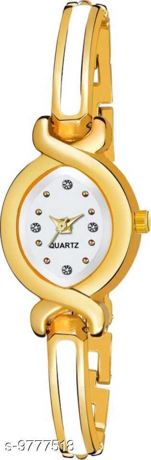Stylish Golden White Bracelet Watch For Women