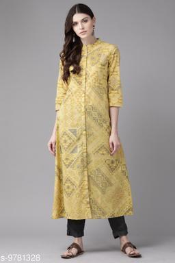 Women Cotton A-line Printed Yellow Kurti
