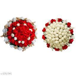 VinshBond Artificial flower Bun Hair Gajra Bun Mogra Gajra Juda Maker Flower Gajra, White and Red Color, Pack of 2
