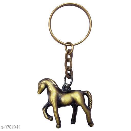 OMAYA  Metal Horse Key Chain  Gold Key Chain