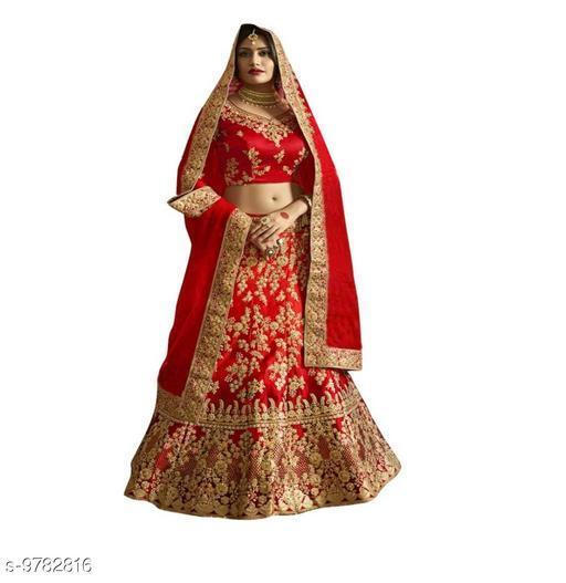 Lehengas Bollywood style designer bridal lahenga choli  *Topwear Fabric* Satin  *Bottomwear Fabric* Satin  *Dupatta Fabric* Satin  *Set type* Choli And Dupatta  *Top Print or Pattern Type* Embroidered  *Bottom Print or Pattern Type* Embroidered  *Dupatta Print or Pattern Type* Embroidered  *Sizes*   *Un Stitched (Lehenga Waist Size* 44 in, Lehenga Length Size  *Semi Stitched (Lehenga Waist Size* 44 in, Lehenga Length Size  *Free Size (Lehenga Waist Size* 44 in, Lehenga Length Size  *Sizes Available* Free Size, Semi Stitched *    Catalog Name: Banita Superior Women Lehenga CatalogID_1737619 C74-SC1005 Code: 2901-9782816-