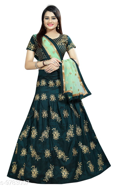 Lehengas Bollywood style designer bridal lahenga choli  *Topwear Fabric* Satin  *Bottomwear Fabric* Satin  *Dupatta Fabric* Satin  *Set type* Choli And Dupatta  *Top Print or Pattern Type* Embroidered  *Bottom Print or Pattern Type* Embroidered  *Dupatta Print or Pattern Type* Embroidered  *Sizes*   *Un Stitched (Lehenga Waist Size* 44 in, Lehenga Length Size  *Semi Stitched (Lehenga Waist Size* 44 in, Lehenga Length Size  *Free Size (Lehenga Waist Size* 44 in, Lehenga Length Size  *Sizes Available* Free Size, Semi Stitched *    Catalog Name: Aakarsha Fabulous Women Lehenga CatalogID_1737656 C74-SC1005 Code: 349-9783007-