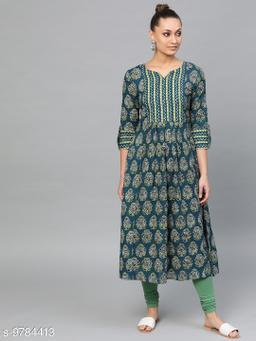 Indo Era Women's Printed Cotton Long Anarkali Kurti