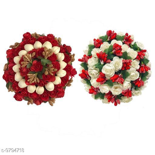 Attractive Women's Combo Multicolor  Floral Gajra Juda Hair Accessories