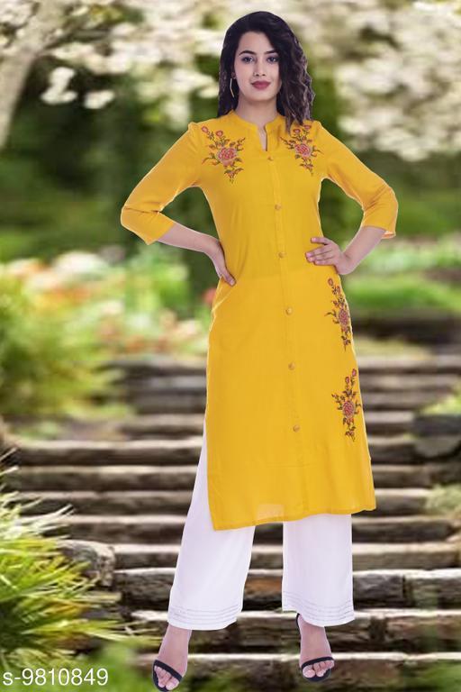 Women Viscose Rayon Straight Embroidered Yellow Kurti