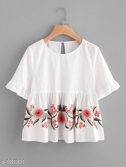 Women's Printed White Rayon Top