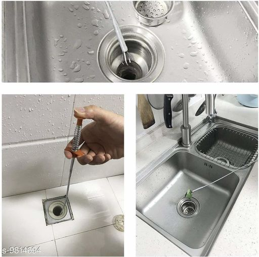 Metal Sink & Drain Cleaner Spring Wire hair catcher (Pack -1)