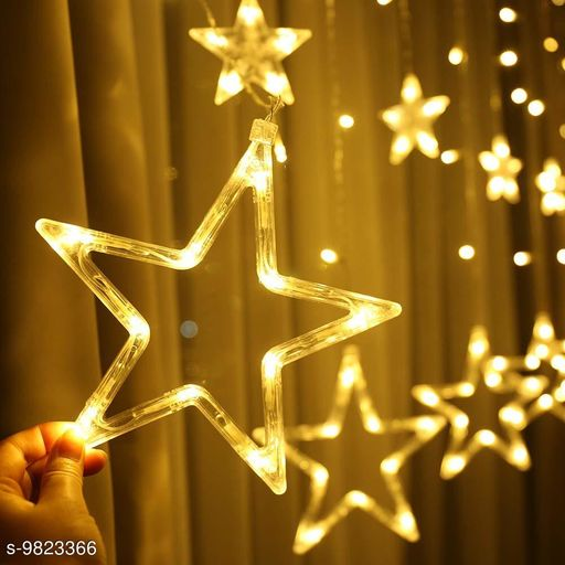 GreenFinch-Star Light Curtain Decorations (10 Star,138 LED,8 Flashing Modes in Warm White Color)
