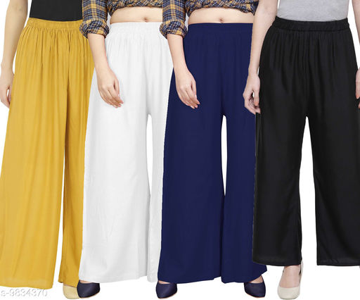 OJ Trend Combo Pack of 4 Rayon Solid Casual Ethnic Palazzo Trouser For Womens