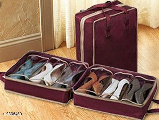 AMEEHA Travel Shoe Organizer Space Saving Fabric Storage Bags, Shoe Tote 6 Pair Shoes Organizer