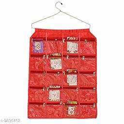 AMEEHA Satin Exclusive Wall Hanging 20 Pouches Jewellery Organiser, Red
