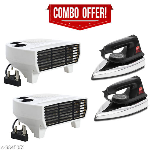 Fogger Smart 2000W Air Heater With Black Dry Iron - Set of 2 Pcs