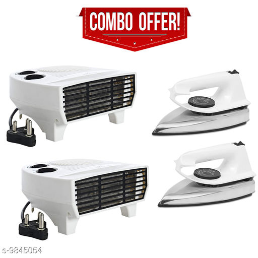 Fogger Smart 2000W Air Heater With White Dry Iron - Set of 2 Pcs