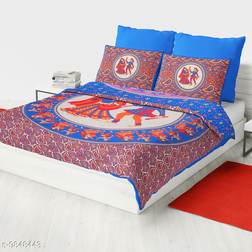 Bedsheets Dandiya Blue  *Fabric* Cotton  *No. Of Pillow Covers* 2  *Thread Count* 140  *Multipack* Pack Of 1  *Sizes*   *Queen (Length Size* 100 in, Width Size  *Sizes Available* Queen *    Catalog Name: Trendy Versatile Bedsheets CatalogID_1751994 C53-SC1101 Code: 014-9848443-