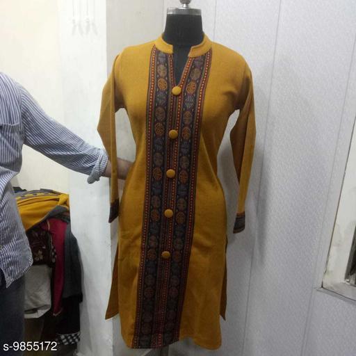 Women Wool Straight Printed Mustard Kurti