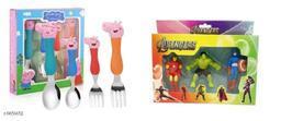 Peppa Pig Spoon and Fork set and Avenger Eraser Combo set