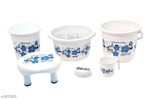 Plastic Bathroom Set White Blue