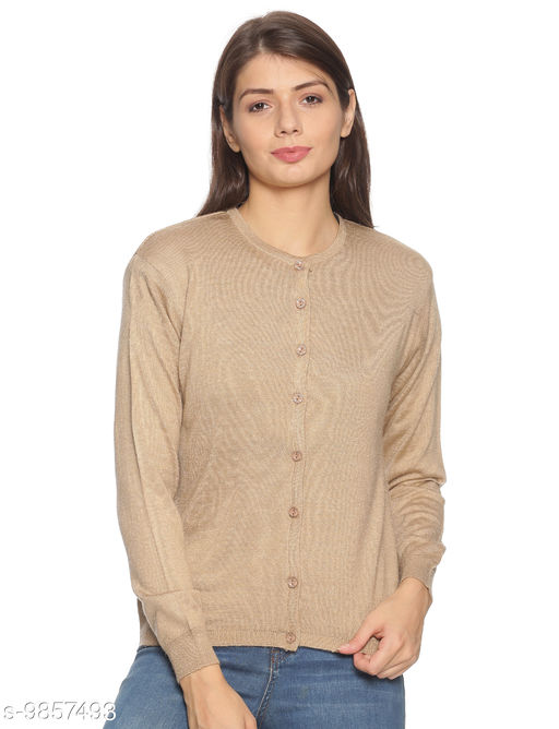 OSWAL Women Knitted Regular Fit Round Neck Full Sleeve Solid Winter Button Down Cardigans