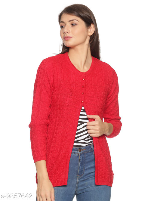 OSWAL Women Knitted Regular Fit Round Neck Full Sleeve Self Design Winter 4 Button Style Cardigans