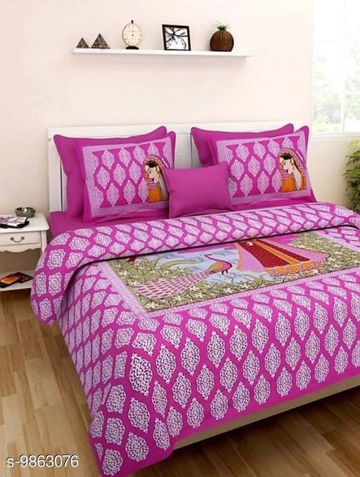Bhabhi Ji Pink 1 Double Bedsheet with 2 Pillow Cover