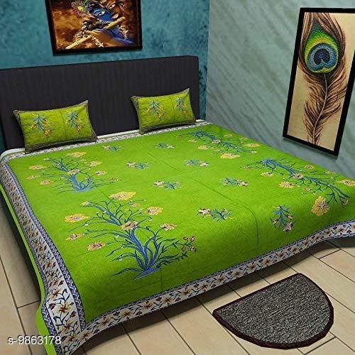 Green Kashmir Kali 1 Double Bedsheet with 2 Pillow Cover