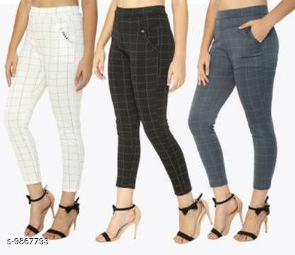 Women's Check Pants (Jegging Style) Formals/Casual Stretchable - Multi Color - (Pack of 3)