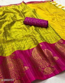 Soft Silk Lemon Color saree with zalar pallu and bouse