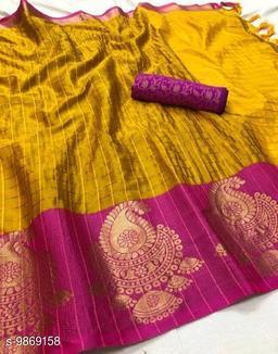 Soft Silk Yellow Pink Color saree with zalar pallu and bouse