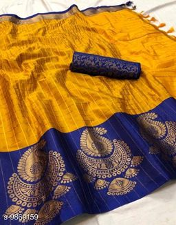 Soft Silk Yellow Blue Color saree with zalar pallu and bouse