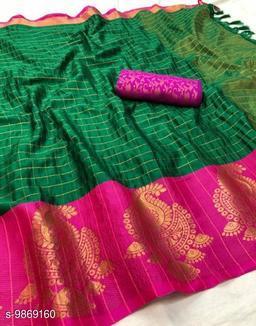 Soft Silk Green Pink Color saree with zalar pallu and bouse